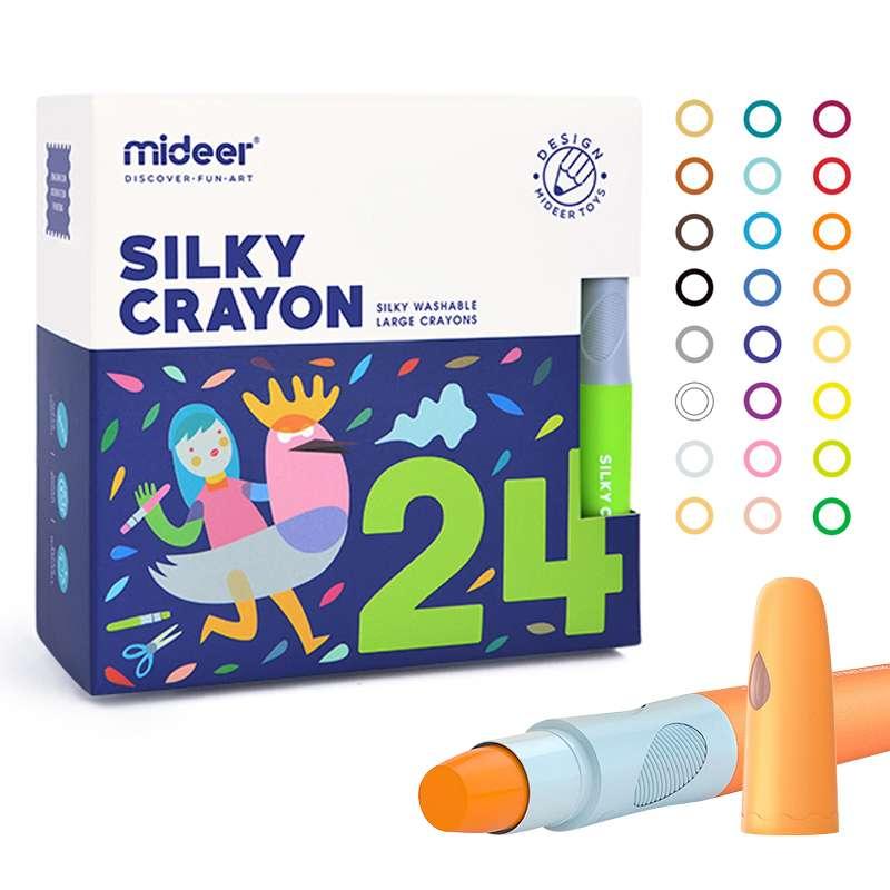 弥鹿(MiDeer)丝滑蜡笔 儿童安全可水洗美术绘画涂鸦油画棒套装大容量旋转蜡笔—24色(MD4067)