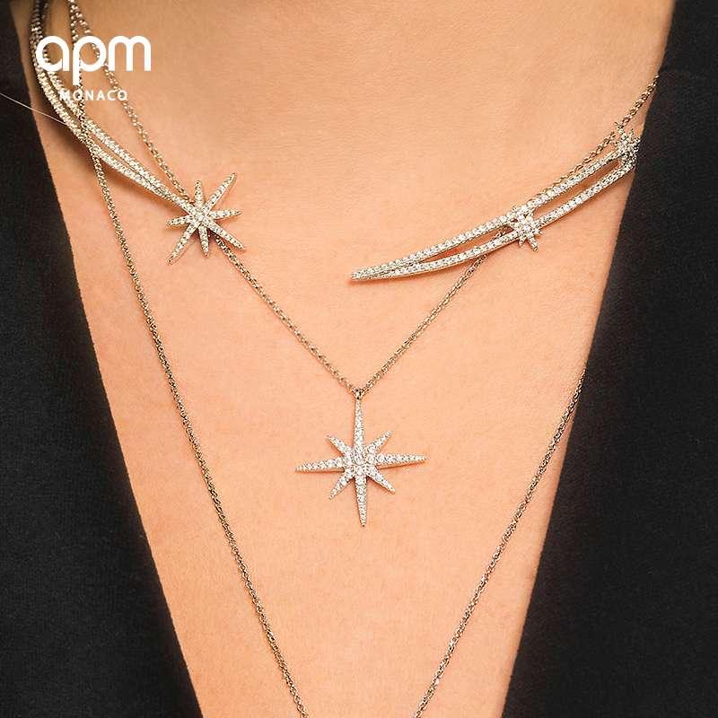 APM Monaco流星项链女六芒星银吊坠 星星锁骨链送女友520礼物AP9606OX