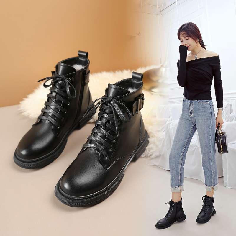 阿比让头层牛皮女靴子真皮软底冬季羊皮毛一体短靴大码妈妈棉靴  AT9088