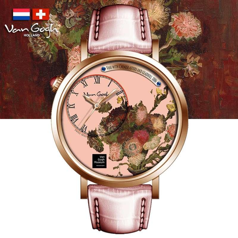 梵高VanGogh瑞士女士手表夹竹桃粉色S-RLV-04