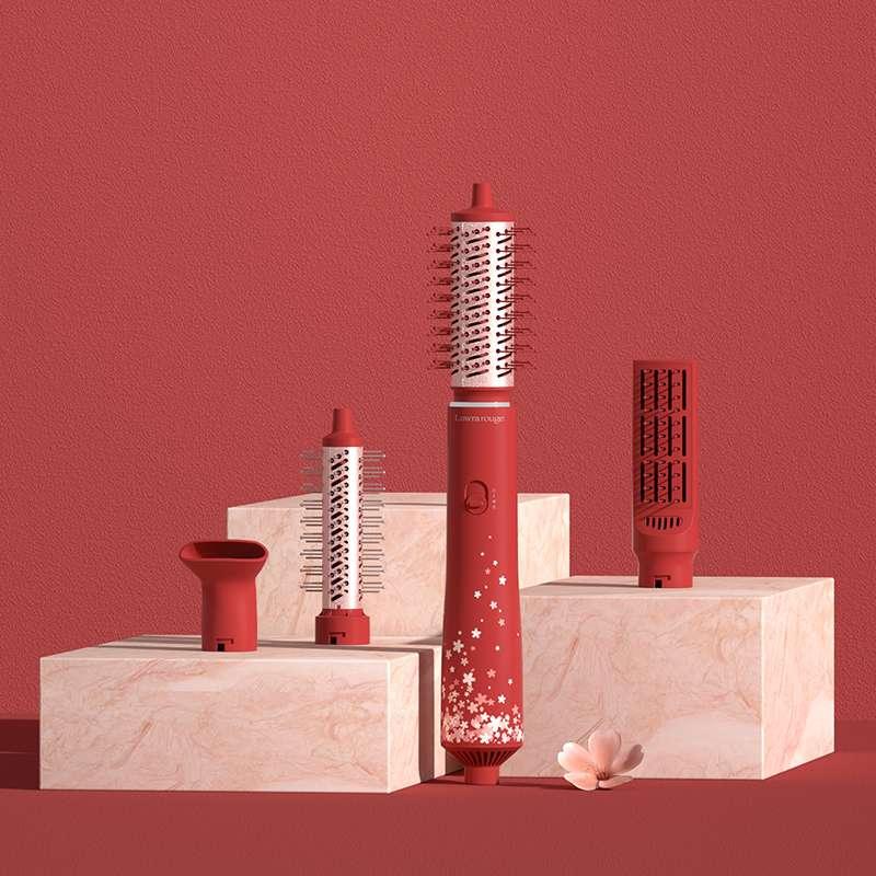 罗拉如炬(Lowra rouge)热风梳卷直两用负离子卷发棒直发梳多种造型神器 红色SL-300