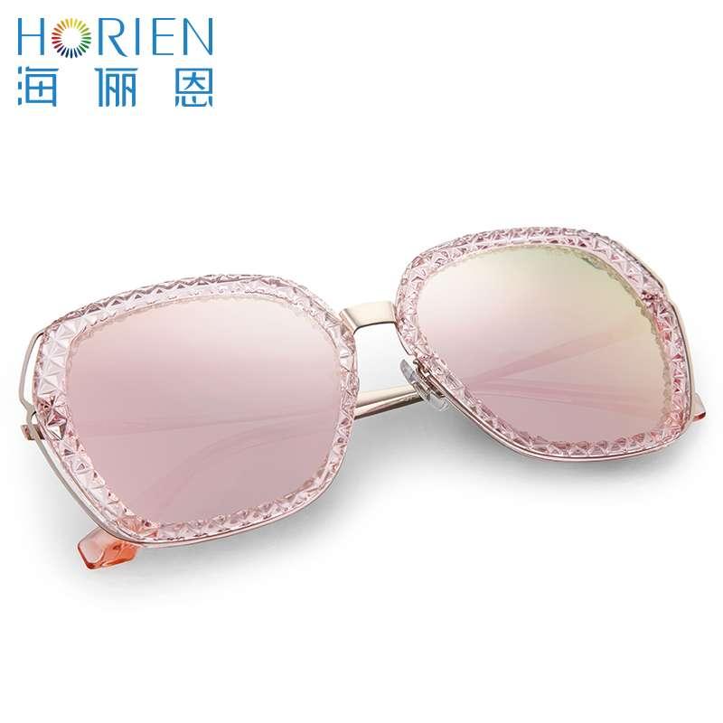 海俪恩太阳镜/女款N6526TD53透明框+樱花粉片