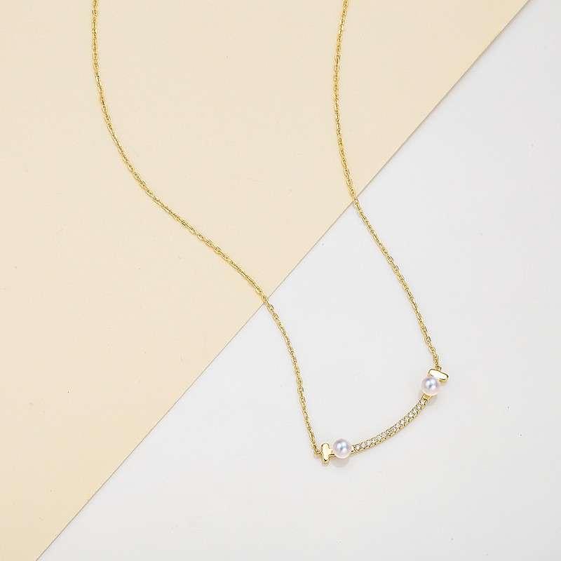 法国百年品牌奥利维拉 珍珠包金吊坠D-B5 Smile 淡水AK珍珠
