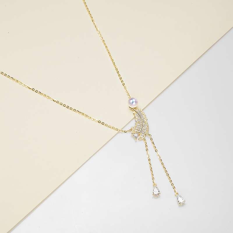 法国百年品牌奥利维拉 珍珠包金吊坠D-J5吊坠 凤羽 淡水AK珍珠