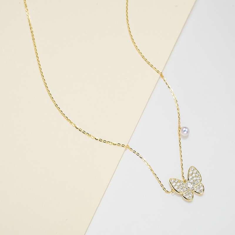 法国百年品牌奥利维拉 珍珠包金TD-J2梦蝶吊坠淡水AK珍珠