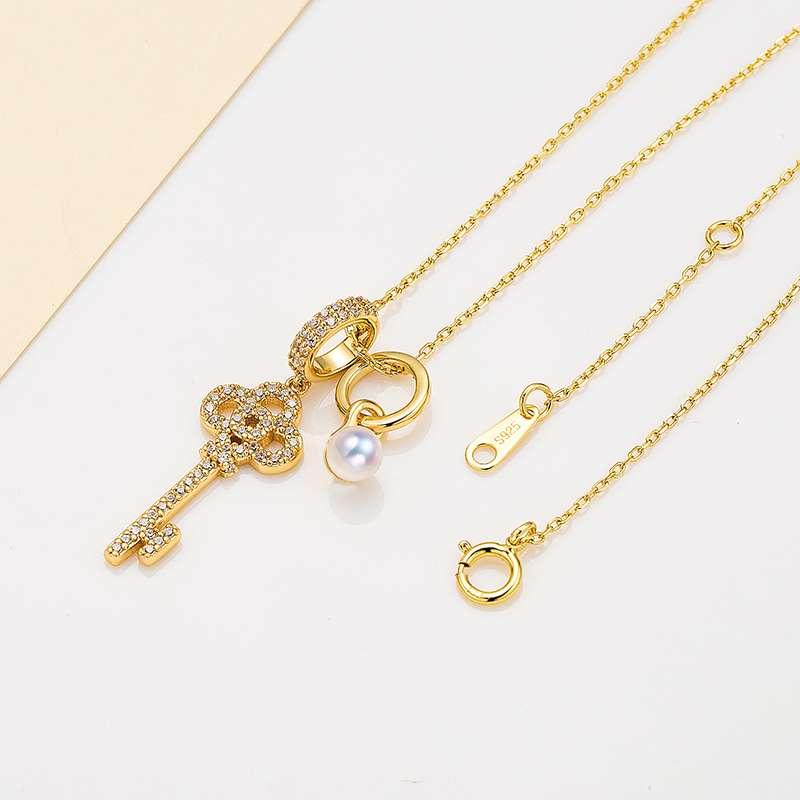 法国百年品牌奥利维拉 珍珠包金吊坠D-B4吊坠 爱之秘钥