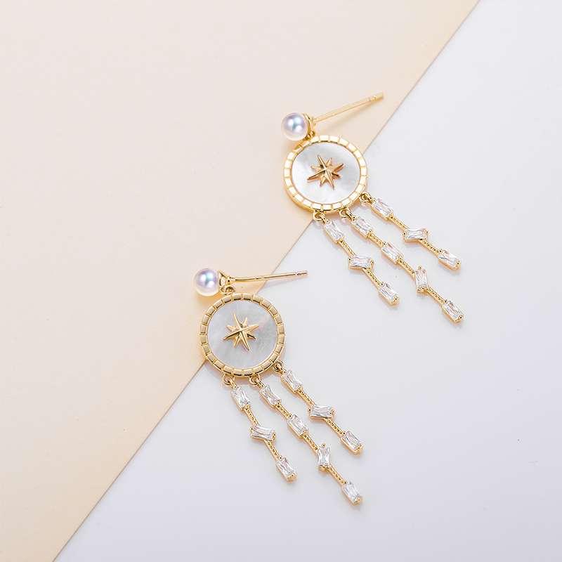 法国百年品牌奥利维拉 珍珠包金TH13耳饰星光流苏 淡水AK珍珠
