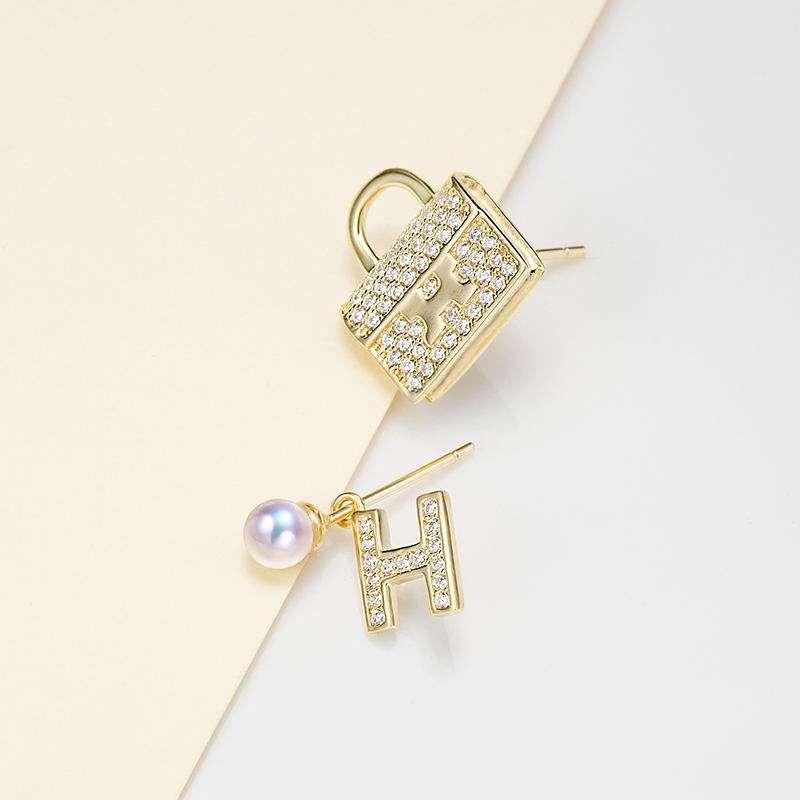 法国百年品牌奥利维拉 珍珠包金H-J3 宠爱耳钉