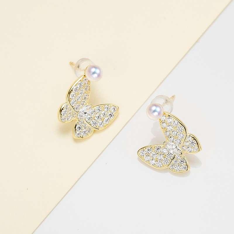 法国百年品牌奥利维拉 珍珠包金TH-J2梦蝶耳钉