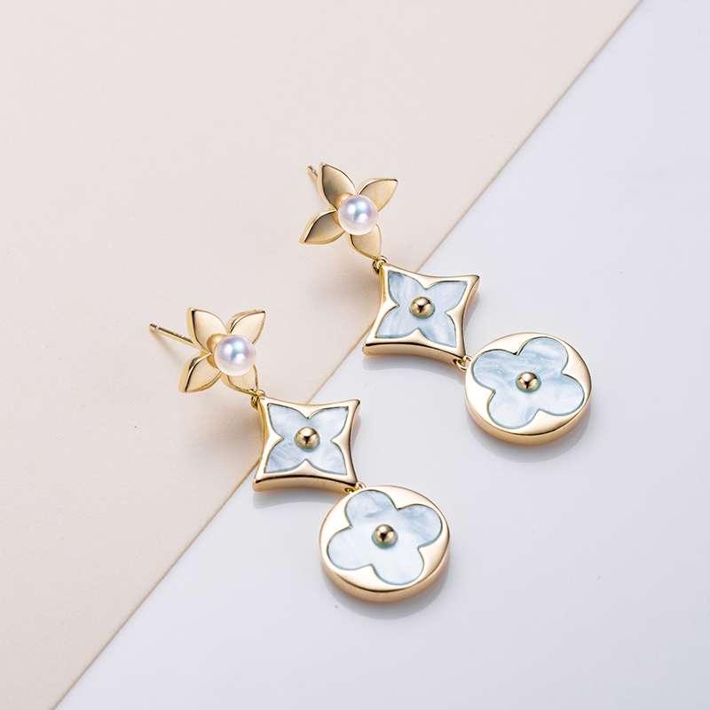 法国百年品牌奥利维拉 珍珠包金TH12耳饰时尚之光