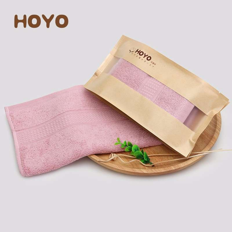 日本和风HOYO臻品长绒棉毛巾单条牛皮纸袋-西瓜红(33*72cm)